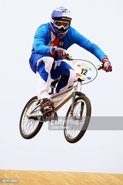 Michal Prokop of the Czech Republic competes in the Men's Seeding phase of the BMX competition at the Laoshan Bicycle Moto Cross Venue during Day 12...
