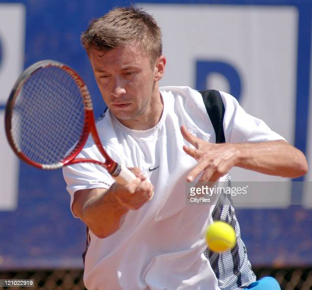 Michal Przysiezny during his match against Nicolas Lapentti in the first round of the 2006 Estoril Open in Estoril Portugal on May 2 2006