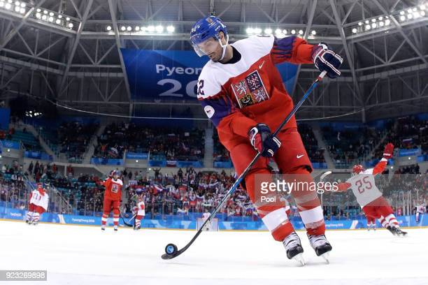Michal Repik of the Czech Republic clears the puck after a goal by Ilya Kovalchuk of Olympic Athlete from Russia on an empty net in the third period...