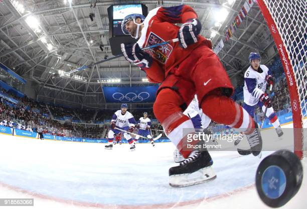 Michal Repik of the Czech Republic scores a goal on Matt Dalton of Korea in the first period during the Men's Ice Hockey Preliminary Round Group A...