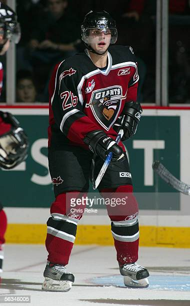 Michal Repik of the Vancouver Giants skates against the Prince George Cougars during their WHL game on October 14 2005 at the Pacific Coliseum in...