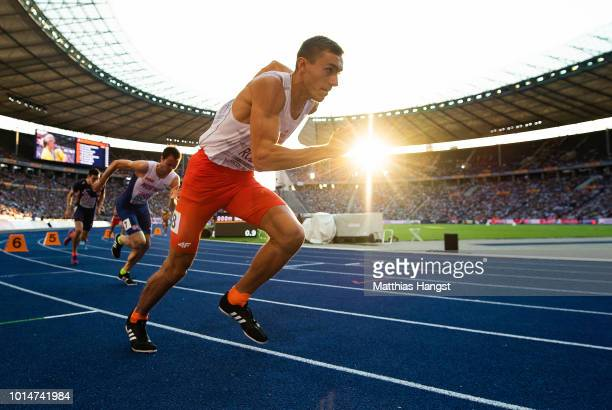 Michal Rozmys of Poland competes in the Men's 800m Semi-Final during day four of the 24th European Athletics Championships at Olympiastadion on...