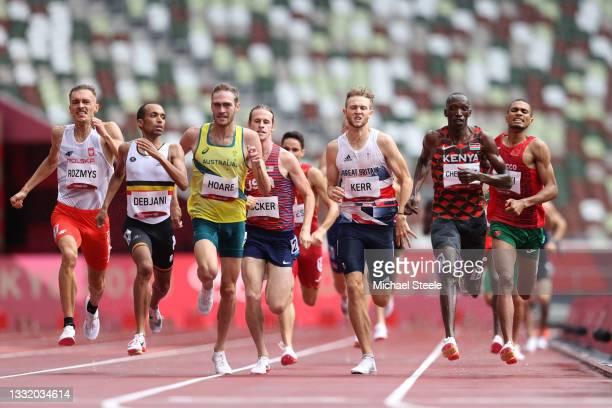 Michal Rozmys of Team Poland, Ismael Debjani of Team Belgium, Oliver Hoare of Team Australia, Cole Hocker of Team United States, Josh Kerr of Team...
