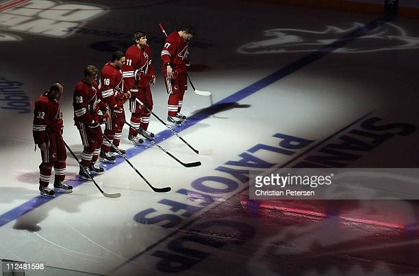 Michal Rozsival Lauri Korpikoski Rostislav Klesla Martin Hanzal and Radim Vrbata of the Phoenix Coyotes stand attended for the National Anthem before...