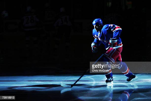 Michal Rozsival of the New York Rangers takes the ice before taking on the Atlanta Thrashers in game four of the 2007 Eastern Conference...