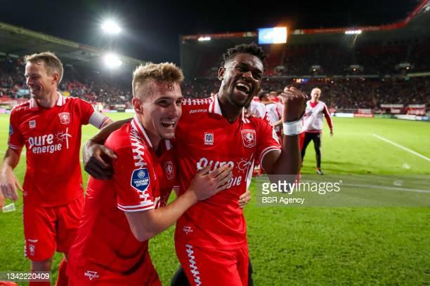 Michal Sadilek of FC Twente and Virgil Misidjan of FC Twente celebrate their sides third goal during the Dutch Eredivisie match between FC Twente and...