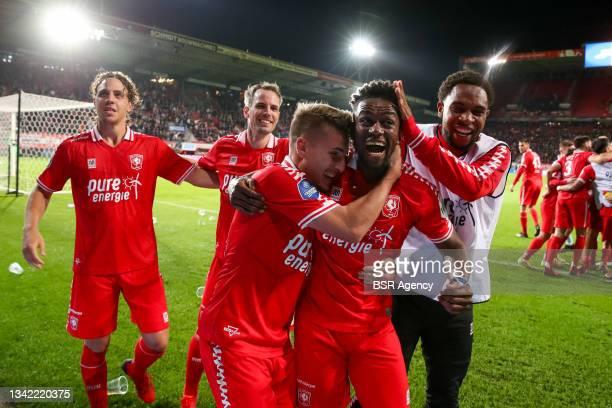 Michal Sadilek of FC Twente, Virgil Misidjan of FC Twente and Denilho Cleonise of FC Twente celebrate their sides third goal during the Dutch...