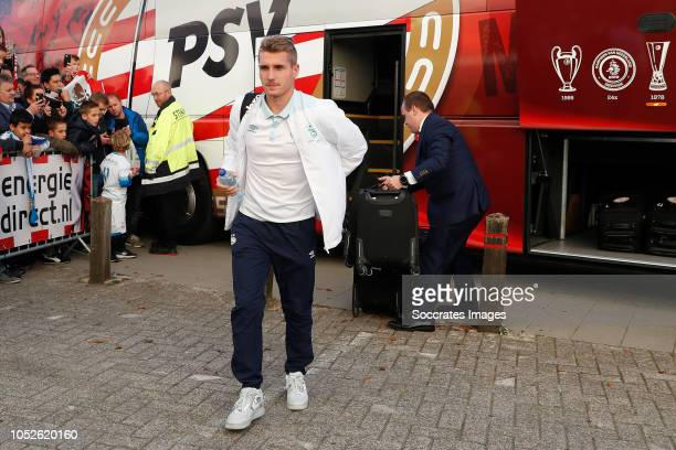 Michal Sadilek of PSV arrives with the players bus during the Dutch Eredivisie match between PSV v FC Emmen at the Philips Stadium on October 20 2018...