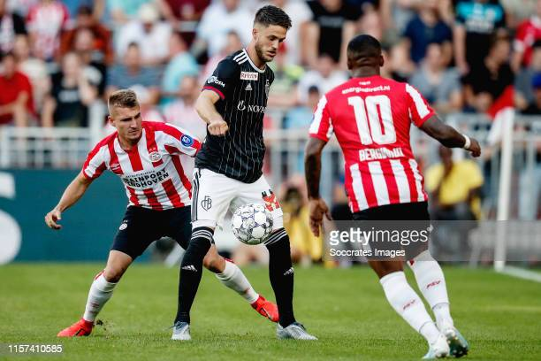 Michal Sadilek of PSV, Ricky van Wolfswinkel of FC Basel during the UEFA Champions League match between PSV v Fc Basel at the Philips Stadium on July...