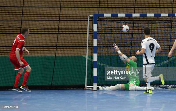 Michal Salak of Hohenstein Ernstthal scores the final goal during the German Futsal Championship final match between VfL HohensteinErnstthal and...