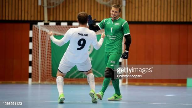 Michal Salak of SV Hohenstein-Ernstthal celebrates the second goal with Johan Vavrek of SV Hohenstein-Ernstthal during the German Futsal Championship...