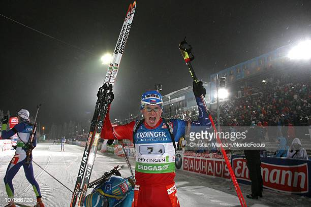 Michal Slesingr of Czech Republic celebrates after the men's relay during the e.on IBU Biathlon World Cup on January 05, 2011 in Oberhof, Germany.