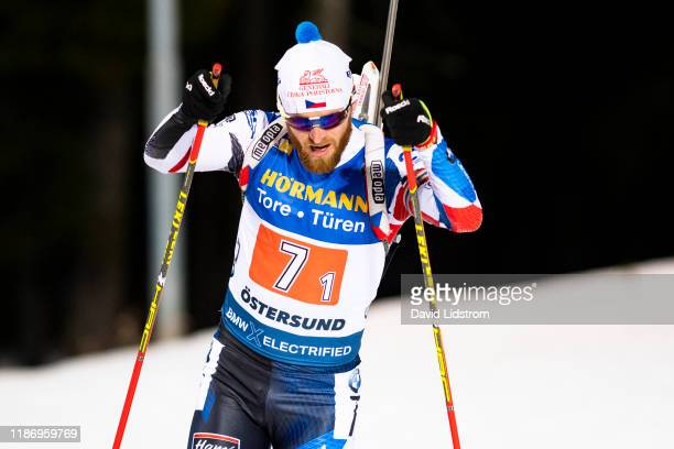 Michal Slesingr of Czech Republic competes during the Mens 4x7.5 km Relay Competition at the BMW IBU World Cup Biathlon Oestersund at Swedish...