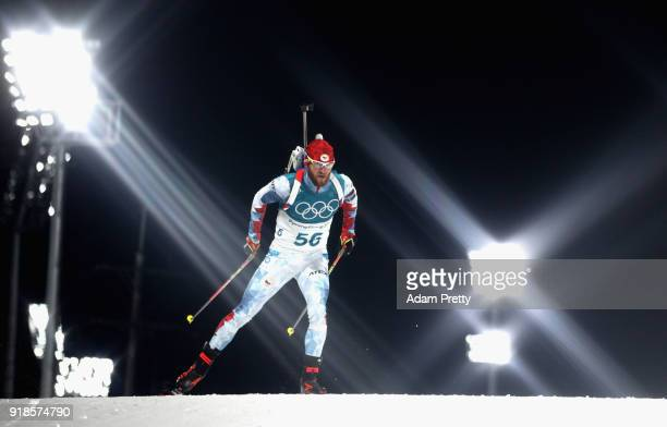 Michal Slesingr of the Czech Republic competes during the Men's 20km Individual Biathlon at Alpensia Biathlon Centre on February 15 2018 in...