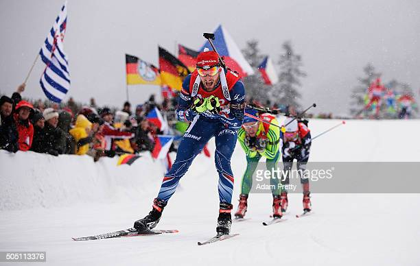 Michal Slesingrm of the Czech Republic in action during the Men's 4x75km relay of the Ruhpolding IBU Biathlon World Cup on January 15 2016 in...