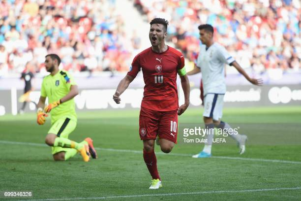 Michal Travnik of Czech Republic celebrates scoring the opening goal during the UEFA European Under21 Championship Group C match between Czech...