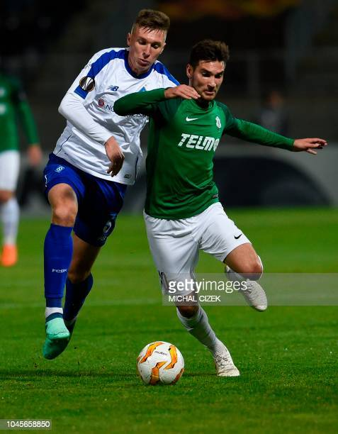 Michal Travnik of FK Jablonec nad Nisou vies with Dynamo Kiev Serhiy Sydorchuk during the UEFA Europe League Group K football match Jablonec v Dynamo...