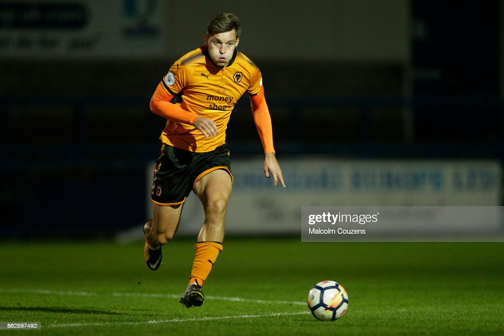 Michal Zyro of Wolverhampton Wanderers during the Premier League 2 game between Wolverhampton Wanderers and Aston Villa at New Bucks Head Stadium on October 16, 2017 in Telford, England.