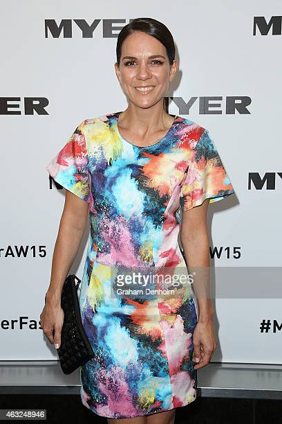 Michala Banas poses as she arrives for the Myer A/W 2015 Season Launch at Myer Mural Hall on February 12 2015 in Melbourne Australia