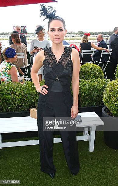 Michala Banas poses at the Emirates Marquee on Oaks Day at Flemington Racecourse on November 5 2015 in Melbourne Australia