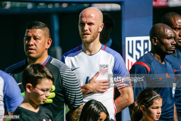 Michale Bradley of the United States looks on during pregame anthems prior to their match against Serbia at Qualcomm Stadium on January 29 2017 in...