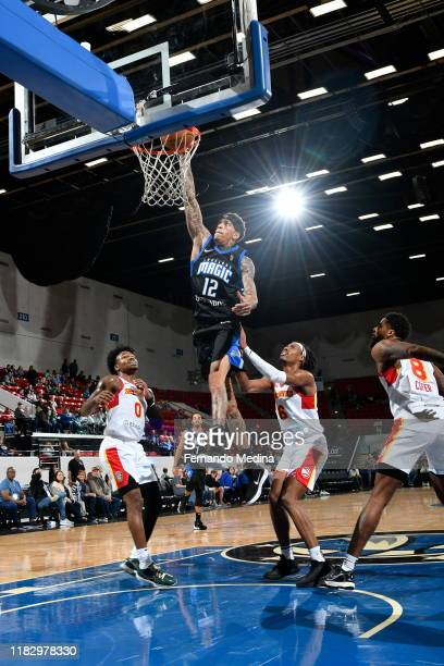 Michale Kyser of the Lakeland Magic dunks against the College Park Skyhawks during the game on November 16 2019 at RP Funding Center in Lakeland...