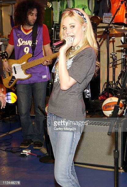 AJ Michalka during Aly and AJ Perform in Celebration of the WNBA's 10th Anniversary at NBA Store in New York City New York United States