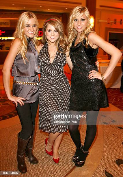 AJ Michalka JoJo and Aly Michalka during Hollywood Christmas Celebration From The Grove Backstage at The Grove in Los Angeles California United States