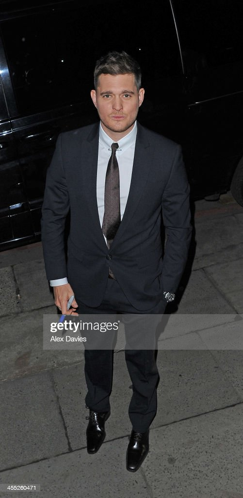 Micheal Buble seen leaving ITV studios after filming the 'Alan Carr' show on December 11, 2013 in London, England.