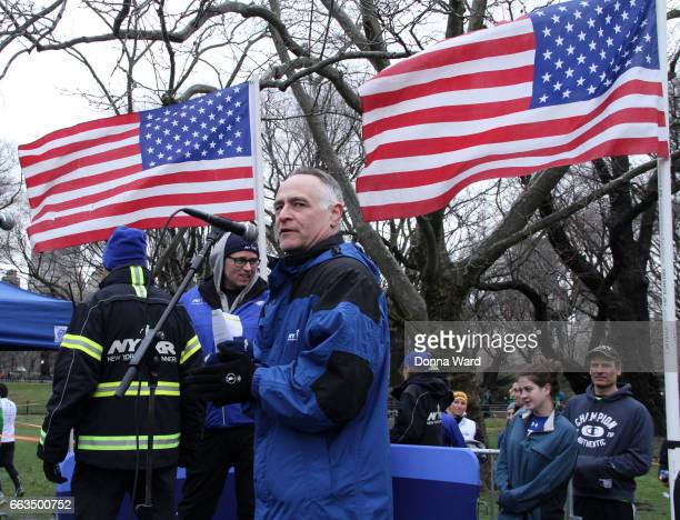 "Micheal Capiraso of the NYRRs speaks during Boomer's Cystic Fibrosis ""Run To Breathe"" Charity Event at Central Park Bandshell on April 1, 2017 in New..."