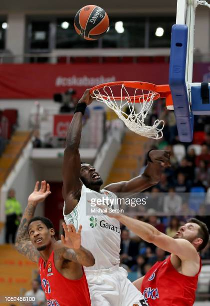 Micheal Eric #50 of Darussafaka Tekfen Istanbul competes with Will Clyburn #21 and Alec Peters #5 of CSKA Moscow in action during the 2018/2019...