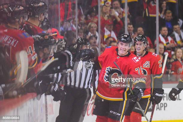 Micheal Ferland of the Calgary Flames celebrates with the bench after scoring against the Winnipeg Jets during an NHL game at Scotiabank Saddledome...