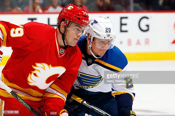 Micheal Ferland of the Calgary Flames skates against Alex Steen of the St. Louis Blues during an NHL game on October 22, 2016 at the Scotiabank...