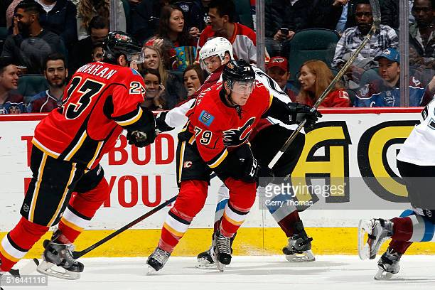 Micheal Ferland of the Calgary Flames skates against the Colorado Avalanche during an NHL game at Scotiabank Saddledome on March 18, 2016 in Calgary,...
