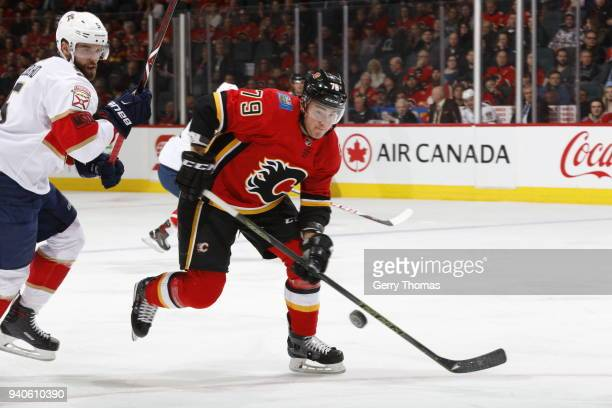 Micheal Ferland of the Calgary Flames skates against the Florida Panthers during an NHL game on February 17 2018 at the Scotiabank Saddledome in...