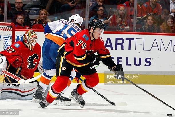Micheal Ferland of the Calgary Flames skates against the New York Islanders during an NHL game at Scotiabank Saddledome on February 25, 2016 in...