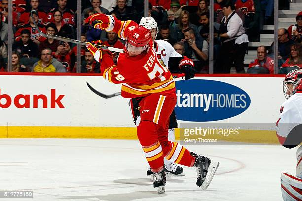 Micheal Ferland of the Calgary Flames skates against the Ottawa Senators during an NHL game at Scotiabank Saddledome on February 27, 2016 in Calgary,...