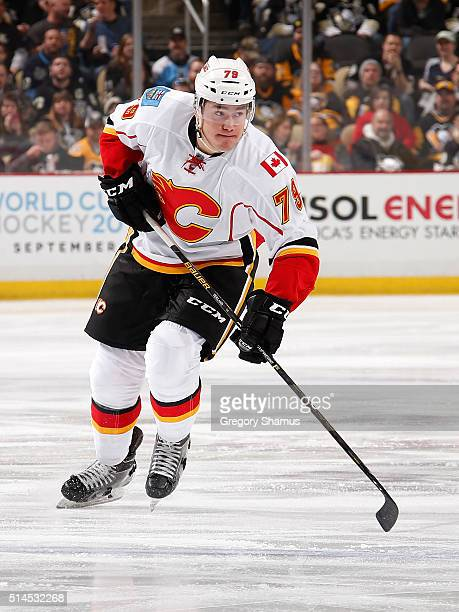 Micheal Ferland of the Calgary Flames skates against the Pittsburgh Penguins at Consol Energy Center on March 5, 2016 in Pittsburgh, Pennsylvania.