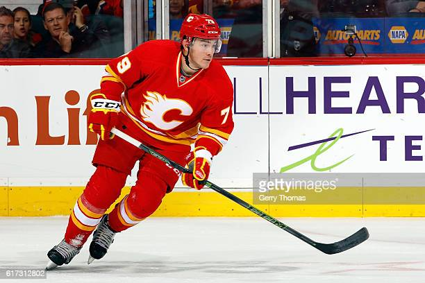 Micheal Ferland of the Calgary Flames skates against the St. Louis Blues during an NHL game on October 22, 2016 at the Scotiabank Saddledome in...
