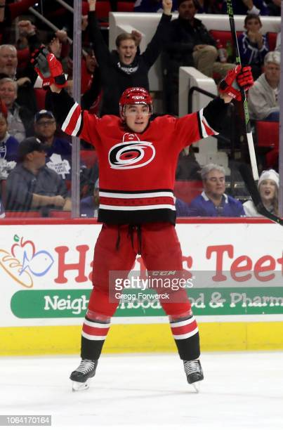 Micheal Ferland of the Carolina Hurricanes celebrates after scoring a goal during an NHL game against the Toronto Maple Leafs on November 21, 2018 at...