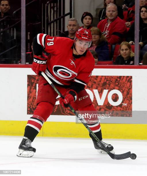 Micheal Ferland of the Carolina Hurricanes controls the puck on the ice during an NHL game against the Chicago Blackhawks on November 12, 2018 at PNC...