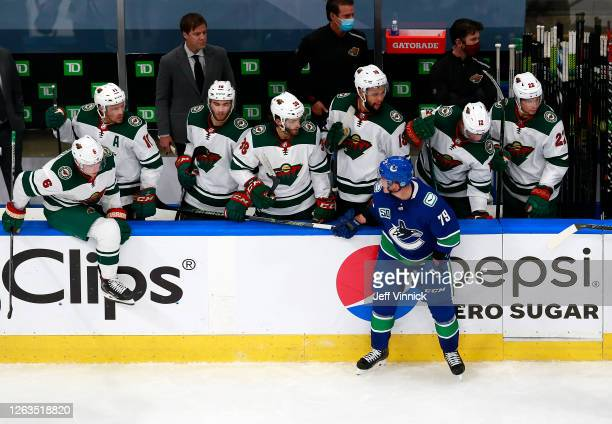 Micheal Ferland of the Vancouver Canucks is penalized for spearing against the Minnesota Wild team in Game One of the Western Conference...