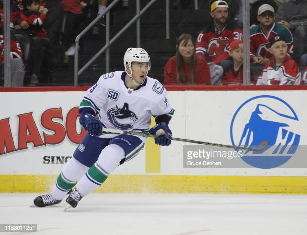 Micheal Ferland of the Vancouver Canucks skates against the New Jersey Devils at the Prudential Center on October 19, 2019 in Newark, New Jersey.
