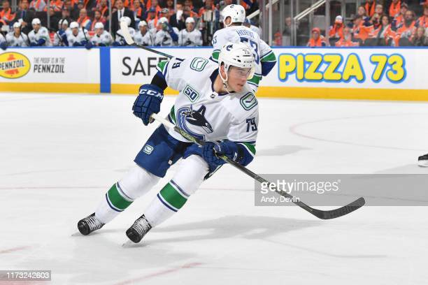 Micheal Ferland of the Vancouver Canucks skates during the game against the Edmonton Oilers on October 2 2019, 2019 at Rogers Place in Edmonton,...