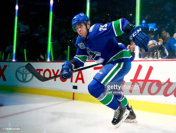 Micheal Ferland of the Vancouver Canucks steps onto the ice during their NHL game against the Toronto Maple Leafs at Rogers Arena December 10, 2019...