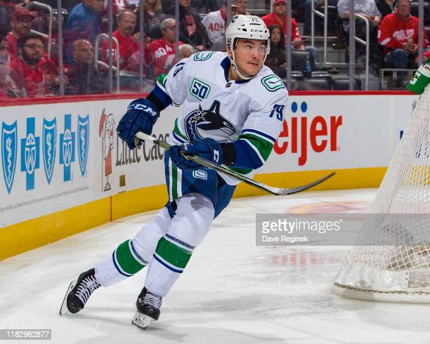 Micheal Ferland of the Vancouver Canucks turns up ice against the Detroit Red Wings during an NHL game at Little Caesars Arena on October 22, 2019 in...