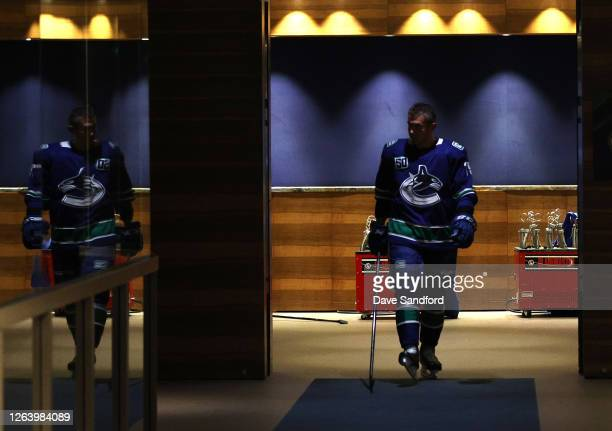 Micheal Ferland of the Vancouver Canucks walks out of the dressing room to attend warm ups before Game Two of the Western Conference Qualification...