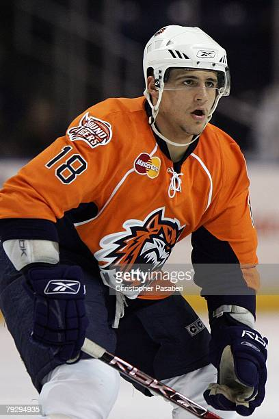 Micheal Haley of the Bridgeport Sound Tigers skates during the third period against the Philadelphia Phantoms on January 23 2008 at the Arena at...