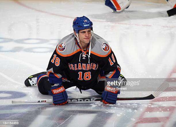 Micheal Haley of the New York Islanders skates against the Philadelphia Flyers at the Nassau Veterans Memorial Coliseum on November 23 2011 in...