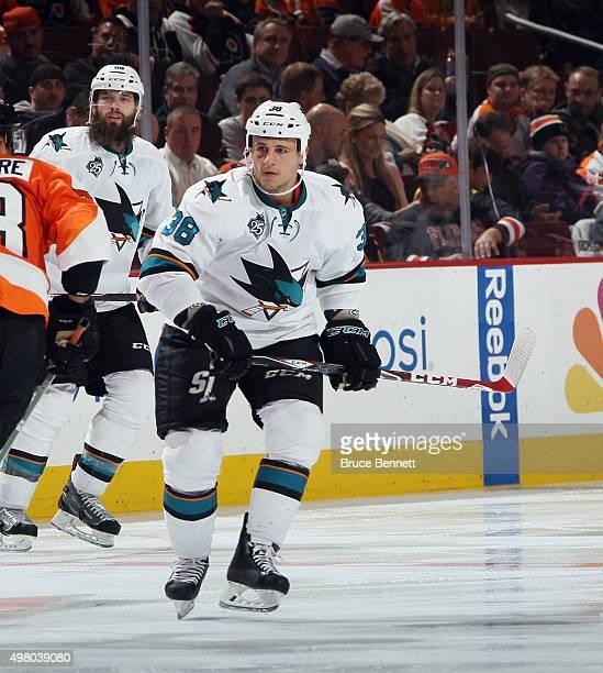 Micheal Haley of the San Jose Sharks skates against the Philadelphia Flyers at the Wells Fargo Center on November 19 2015 in Philadelphia Pennsylvania